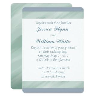 Verde marmoreado e convite de casamento azul