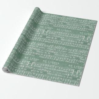 Verde medieval da cerceta do manuscrito da música papel de presente