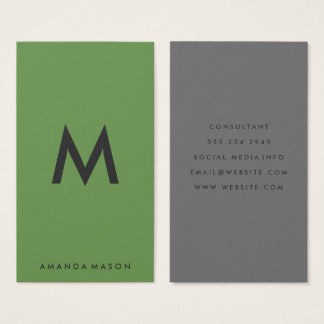 Verde minimalista das cinzas do monograma cartão de visitas
