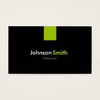 Verde moderno da hortelã do nutricionista da cartão de visitas