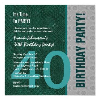 Verde moderno do partido de aniversário de 40 anos convites
