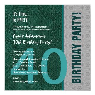 Verde moderno do partido de aniversário de 40 anos convite quadrado 13.35 x 13.35cm