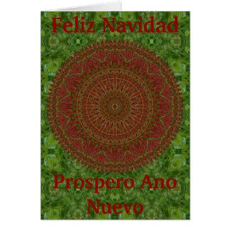 Verde no cartão de Natal vermelho da mandala do