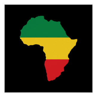 Verde, ouro & bandeira vermelha de África Poster