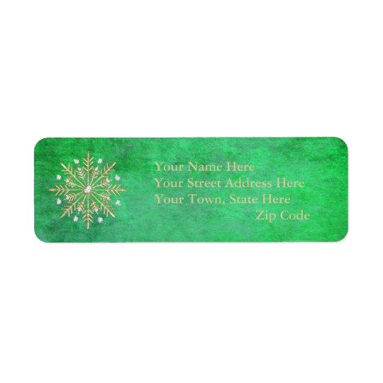 Verde & ouro dos flocos de neve do Natal Etiqueta Endereço De Retorno