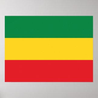 Verde, ouro e bandeira vermelha poster