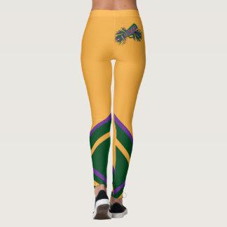 Verde, ouro, megafone roxo do cheerleader leggings