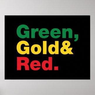 Verde, ouro & vermelho poster