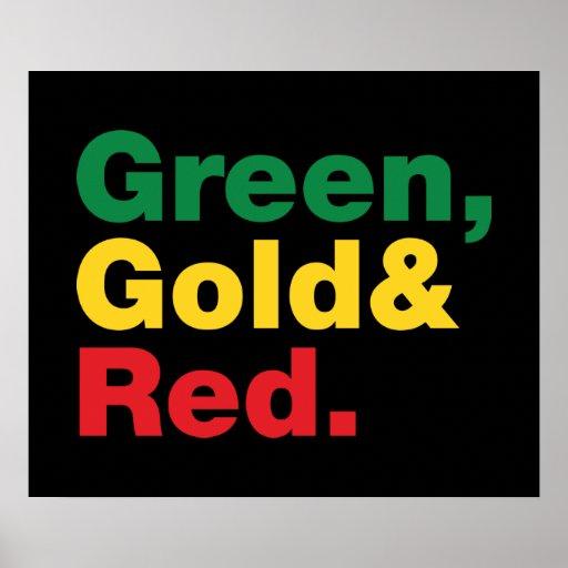 Verde, ouro & vermelho posteres