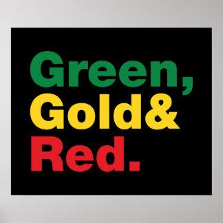 Verde ouro vermelho posteres