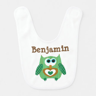 Verde personalizado Brown da coruja do babador do