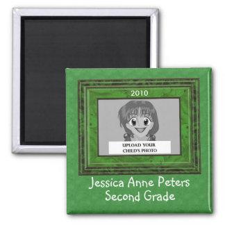 Verde personalizado do ímã da foto do ano escolar  imã de geladeira