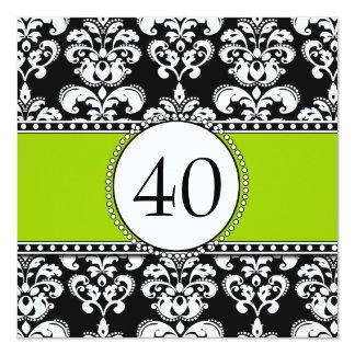 Verde preto dos convites do aniversário de 40 anos