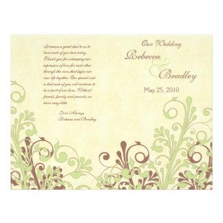 Verde & programa floral abstrato do casamento de B Modelo De Panfleto