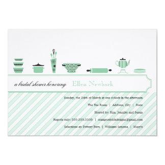 Verde prudente dos chás de panela | convite 12.7 x 17.78cm
