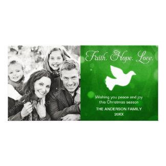 Verde religioso da pomba do Natal do amor da Cartão Com Foto