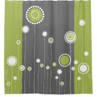 Verde retro do teste padrão de flores cortina para chuveiro