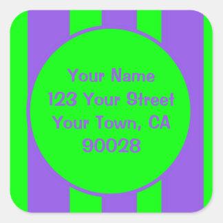 Verde roxo brilhante listrado adesivo quadrado
