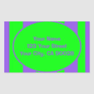 Verde roxo brilhante listrado adesivo retangular