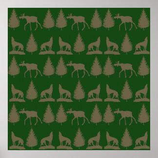 Verde rústico de Tan dos pinheiros selvagens dos l Poster