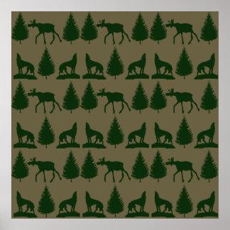 Verde rústico de Tan dos pinheiros selvagens dos l Posteres