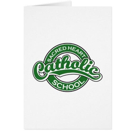 Verde sagrado da escola católica do coração cartao