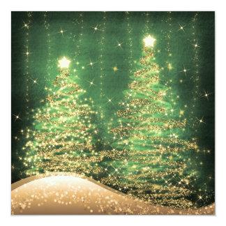 Verde Sparkling das árvores da festa de Natal Convite Quadrado 13.35 X 13.35cm