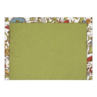 Verde sujo com borda da flor convite