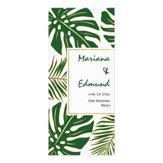Verde tropical das folhas e cartão do menu do