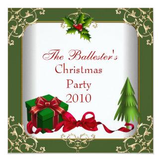 Verde vermelho do ouro branco da festa de Natal do Convite Quadrado 13.35 X 13.35cm