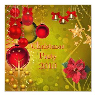 Verde vermelho do ouro da festa de Natal do Convite Quadrado 13.35 X 13.35cm
