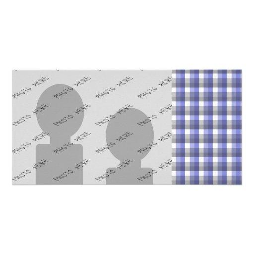 Verificação do guingão. Azul, cinza, branca. Molde Cartao Com Foto Personalizado
