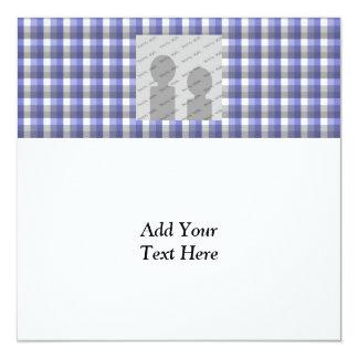 Verificação do guingão. Azul, cinza, branca. Molde Convite Quadrado 13.35 X 13.35cm