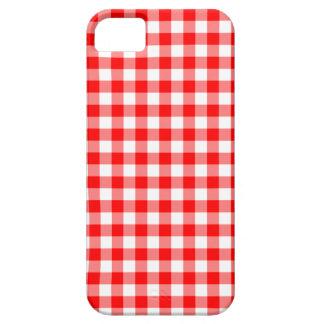 Verificações vermelhas e brancas do guingão capa para iPhone 5