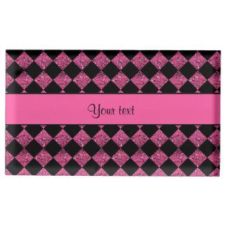 Verificadores à moda do brilho do rosa preto & suportes para cartoes de mesa