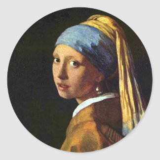 Vermeer: A menina com etiqueta da arte do brinco Adesivo