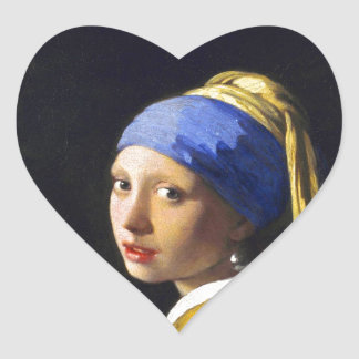 ~ Vermeer do brinco da pérola de w da menina Adesivo Coração