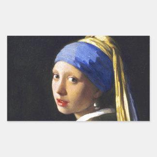 ~ Vermeer do brinco da pérola de w da menina Adesivo Em Formato Retângular