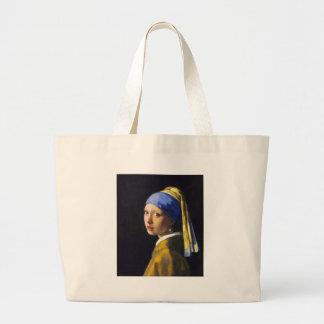 ~ Vermeer do brinco da pérola de w da menina Bolsa Para Compras