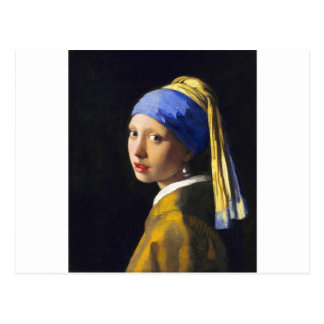 ~ Vermeer do brinco da pérola de w da menina Cartão Postal