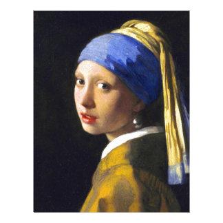 Vermeer do brinco da pérola de w da menina modelo de papel de carta