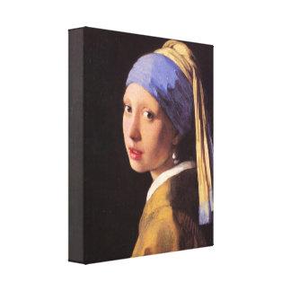 Vermeer - menina com o brinco da pérola impressão em canvas