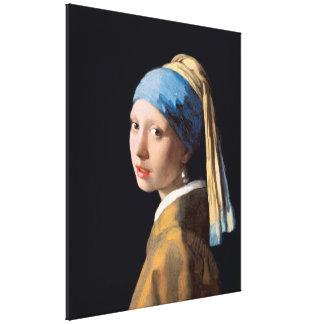 VERMEER - Menina com um brinco 1665 da pérola Impressão Em Canvas
