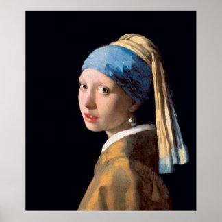 VERMEER - Menina com um brinco 1665 da pérola Pôster