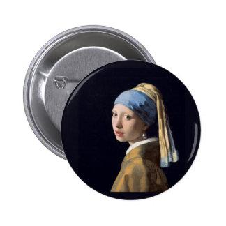 Vermeer - menina com um brinco da pérola bóton redondo 5.08cm
