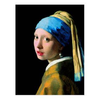 Vermeer - menina com um brinco da pérola cartão postal