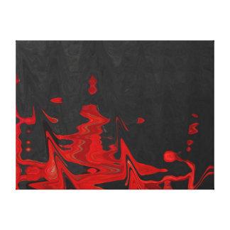 Vermelho abstrato das belas artes em canvas pretas