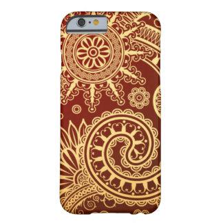 Vermelho abstrato e teste padrão floral do ouro capa barely there para iPhone 6