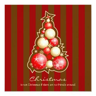 Vermelho & árvore de Natal das bolhas do ouro Convite Quadrado 13.35 X 13.35cm