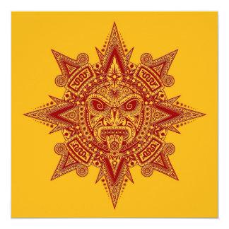 Vermelho asteca da máscara de Sun no amarelo Convites Personalizados